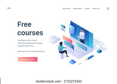 Vector illustration of modern website design with isometric person studying online on source of free courses isolated on white background