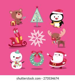 A vector illustration of modern whimsical christmas icons like christmas symbols and characters like teddy bear, christmas tree, penguin, sleigh, snowflake, reindeer, snowman, wreath and santa claus.