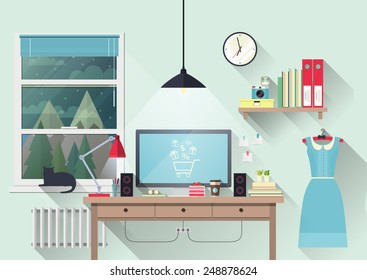 Vector illustration of modern workplace in room. Creative office workspace of blogger with elements, objects. Flat minimalistic style, modern colors. Flat design with long shadows, icon collection