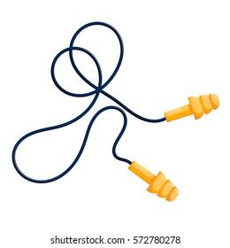 Vector illustration of modern yellow ear plugs on a white background. Cartoon style earplugs