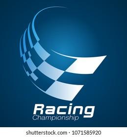 Vector illustration, modification shape checkered flag for racing championship symbol