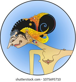 Vector illustration, modification of wayang purwa, Puntadewa character, one of the five pandawa figures.