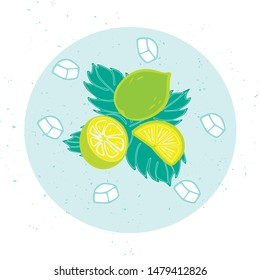 Vector illustration of mojito for bar, restaurant, cafe menu. Mojito for decoration labels, cards, photos from the rest. Mojito to design an invitation to a party. Mojito illustration for print.