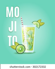 Vector illustration. Mojito cocktail in a tall glass, decorated with sliced lime and mint leaves, striped straw and ice cubes. Menu, party invitation card, poster, advertising, cafe, bar, restaurant.