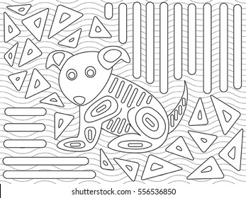 Vector illustration of mola design in native Kuna style designed for coloring book.