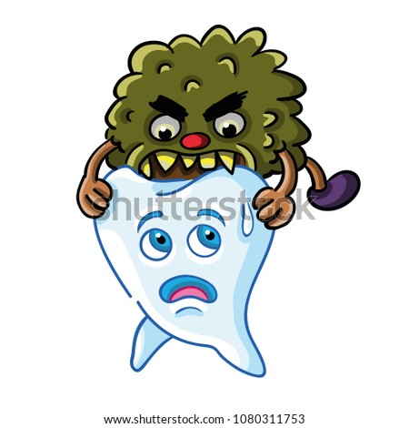 Vector Illustration Molar Tooth Being Attacked เวกเตอร์สต็อก