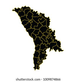 vector illustration of Moldova map, Moldova, vector map silhouette. gray on a white background.