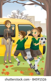 A vector illustration of a mom dropping off her kids to soccer practice