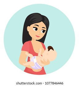 Vector illustration of mom feeding her baby, breastfeeding. Lovely colorful characters of young mother with baby in cartoon flat style.