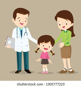 Vector illustration of a mom and girl in doctor's office.Mother and a little girl visiting the doctor.Doctor,children,woman standing and smile.Mother and child daughter visit a family doctor.