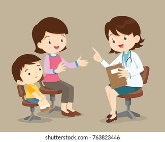 Vector illustration of a mom and son in doctor's office.Mother and a little son visiting the doctor.