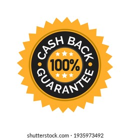 Vector illustration of money back guarantee label icon. Perfect for the design elements of a shop promotion, warranty, and attracting customer trust. Gold label of cashback guarantee certificate.