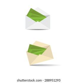 Vector Illustration. Money in an open envelope.