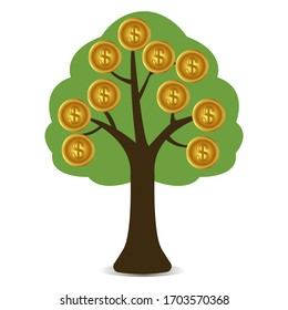 Vector illustration of a money tree. Tree with gold coins. Growth in financial well-being