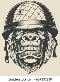 Vector illustration of a monkey American soldier smokes a cigarette in a helmet