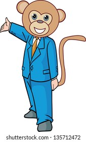 vector illustration of a monkey businessman, in the standard blue suit