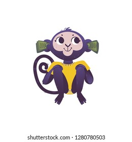 Vector illustration of monkey dont hear because of stacks of green banknotes of one hundred in his ears in flat style isolated on white background - wild animal with ears covered with money.