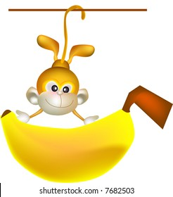 vector illustration for a monkey hanging and holding a big banana