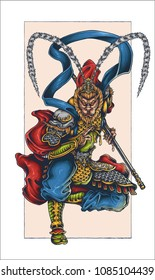 vector illustration of monkey king sun wukong sun gokong tattoo