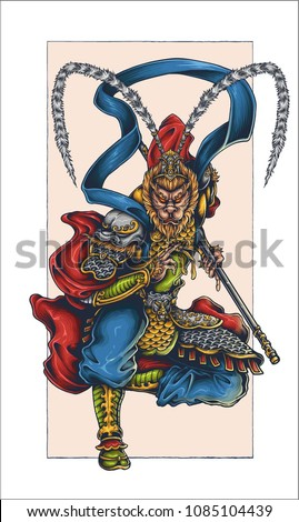 Vector Illustration Of Monkey King Sun Wukong Sun Gokong Tattoo