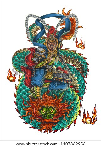 Vector Illustration Of Monkey King Sun Wukong Sun Gokong And Dragon Tattoo