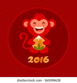 Vector illustration of a monkey with peach for Chinese new year