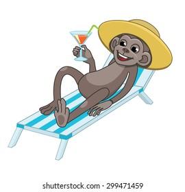 vector illustration monkey resting, drinks and sunbathe