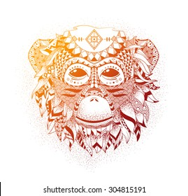 Vector illustration of a monkey, a symbol of New Year 2016. Vector head of an animal, with ethnic motifs. Sketch of tattoo print on a T-shirt or a greeting card.