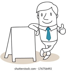 Vector illustration of a monochrome cartoon character: Friendly businessman leaning against blank billboard giving the thumbs up (JPEG version also available).