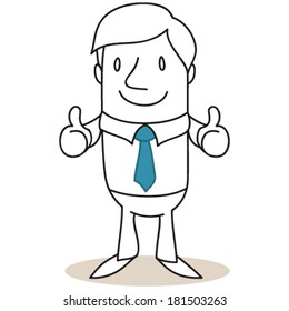 Vector illustration of a monochrome cartoon character: Businessman giving two thumbs up.