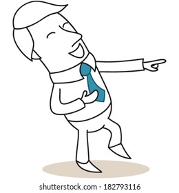 Vector illustration of a monochrome cartoon character: Businessman pointing and laughing.