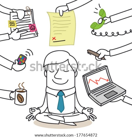 Vector illustration of a monochrome cartoon character: Calm businessman doing yoga while paperwork chaos is surrounding him.