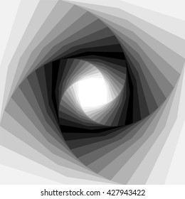 Vector Illustration. Monochrome Helix Shimmering from Light to Dark Tones and  Expanding from the Center. Optical Illusion of Depth and Volume. Suitable for Web Design.
