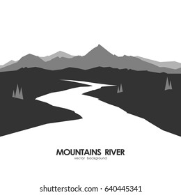 Vector illustration: Monochrome mountains landscape with white river.