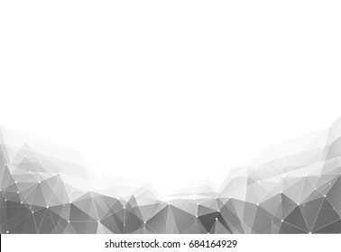 Vector illustration of monochrome triangle geometric pattern backround with lines and dots