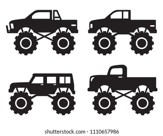 Vector illustration of monster pick up truck side view silhouette set.