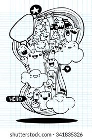 Vector illustration of Monsters and alien cute doodle set,drawing style Pen on Paper .Vector illustration.