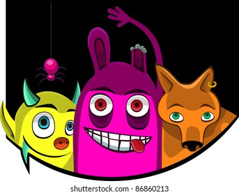 A vector illustration of  monsters. Can be recolored or scaled without problems and quality loss