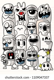 Vector illustration of Monsters and cute alien friendly, cool, cute hand-drawn monsters collection Vector EPS 10 illustration.