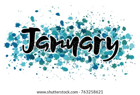 Vector Illustration Month January Hand Lettering Stock ...