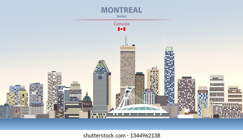 Vector illustration of Montreal city skyline on colorful gradient beautiful day sky background with flag of Canada