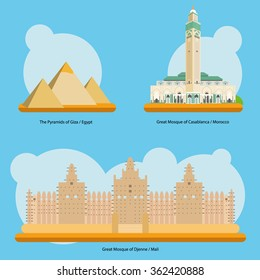 Vector illustration of Monuments and landmarks in Africa: The Pyramids of Giza (Egypt), Great Mosque of Casablanca (Morocco) and Great Mosque of Djenne (Mali). EPS 10 file compatible and editable.