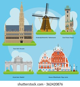 Vector illustration of Monuments and landmarks in Europe Set 3: Town Hall (Brussels), Kinderdijk Windmills (Netherlands), Clock Tower (Prague), Alcala Gate (Madrid) and House of the Blackheads (Riga).