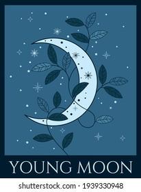 vector illustration of moon in blue colours, dark night color scheme, winter colour palette