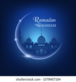 Vector illustration with moon, sparkles, glitters, blue mosque on a night blue sky background and Ramadan Kareem text. Beautiful greeting card for muslim community festival.