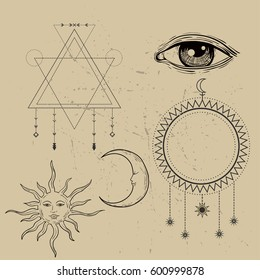 Vector illustration of Moon and Sun with faces  and all seeing eye symbol  and sacred geometry