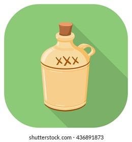 Vector Illustration of a Moonshine hard liquor jug Flat Icon.