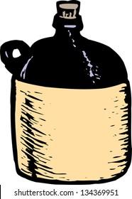 Vector illustration of Moonshine Liquor Jug