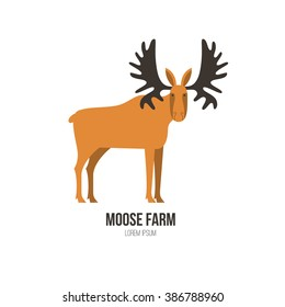 Vector illustration of a moose made in modern flat style. Graphical animal collection. Logo or label for your company isolated on background.