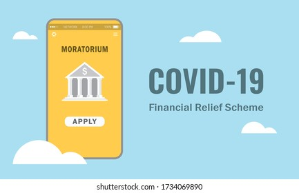 Vector illustration of moratorium application via smartphone apps. Financial relief scheme during Covid-19 pandemic outbreak. Cloud computing and Financial concept.